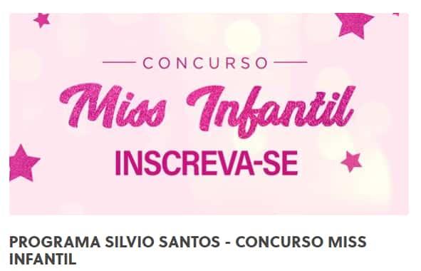 Inscrição Concurso Miss Infantil do programa Silvio Santos