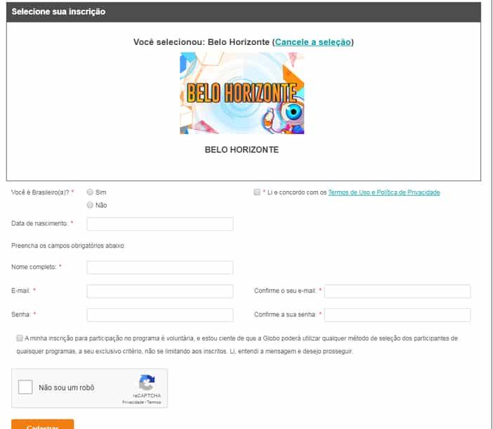 formulário de inscrição