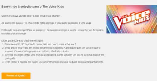 passo 1 - entre no site para inscrição the voice kids 2021