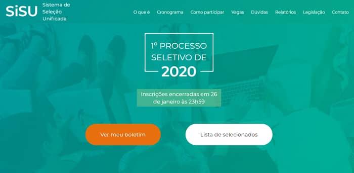 Inscrições Sisu 2021