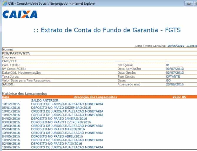 exemplo de extrato FGTS