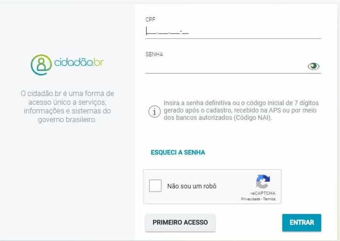 login com cidadao.br