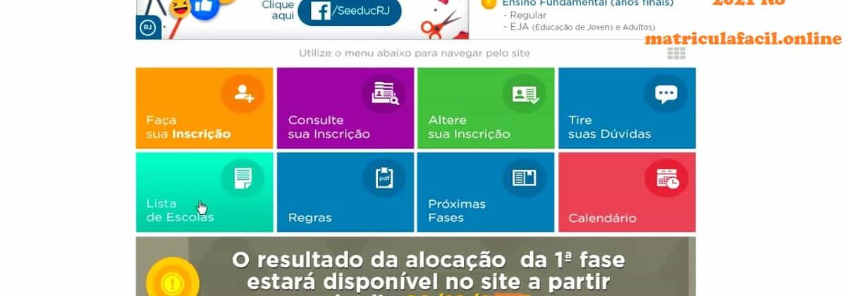 website matrícula fácil 2021 RJ