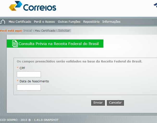login com cpf e data de nascimento