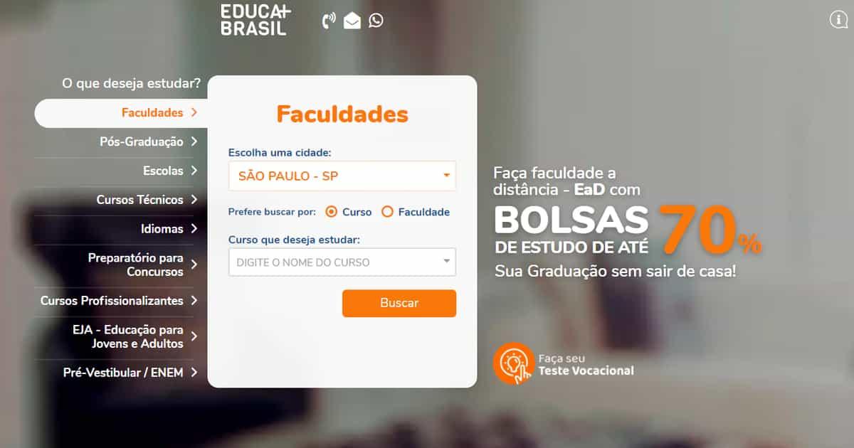 página inicial Educa Mais Brasil 2021