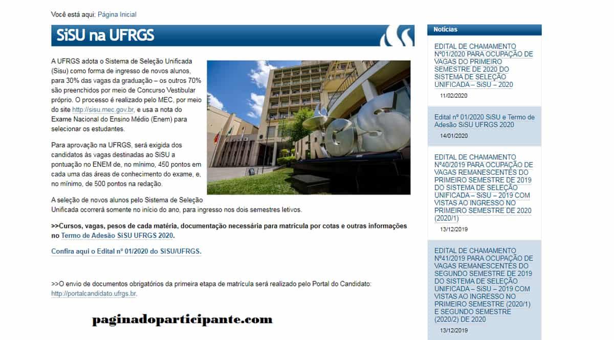 UFRGS Nota de corte Sisu 2021