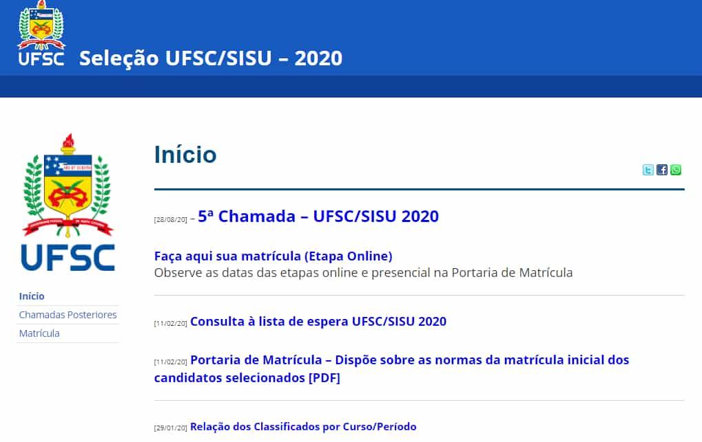 UFSC Nota de corte SISU 2021 – campus, cursos, vagas, nota de corte, número de inscritos