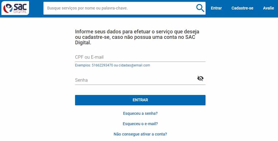 login sistema sac digital