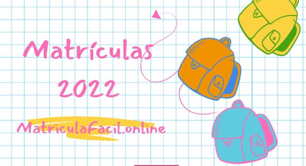 Matrículas 2022 capa